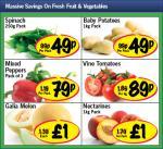 Lidl Fruit & Veg Offers - Spinach 250g 49p, Baby Potatos 1kg 49p, 3 Mixed Peppers 79p, Vine Tomatos per kg 89p, Galia Melon £1 & Nectarines 1kg £1