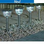 Four Stainless Steel Solar Light £3 (Was £12) @ ASDA