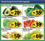 Avocado 29p,White grapes 500 grams 69p,Savoy Cabbage 38p,New Season potato 1.5kg 59p,Cherry tomatoes 250grams 39p at Lidl