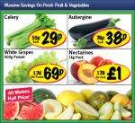 Aubergine 38p,Celery 29p,White Grapes 500gms 69p,Nectarines 1Kg pack £1 plus all Melons Half Price  @ Lidl