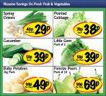 Pointed Cabbage 38p,Cucumber 39p,Spring Onions 29p,Little Gem Lettuce Pack of two 39p,Baby Potatoes 1kg 49p,Funsize pears pack of 10 69p @ Lidl
