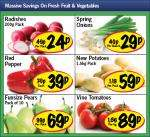 Lidl Fruit & Veg Offers - Radishes 200g 24p/ Spring onions 29p/ Red Pepper 29p/ New potatoes 1.5kg 59p/ Funsize pears 10pack 69p/ vine tomatoes 89p