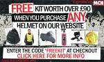 Free Kit Worth over £90 with any Helmet purchase from LIDS DIRECT.