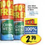 John West Tuna Chunks in Brine 6x 185g - £2.79 @ Lidl