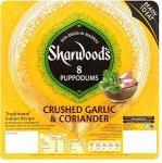 Sharwood's Ready To Eat Garlic & Coriander Puppodums x 8 72g  Buy 3 for £3.00 Were £1.63 each @ Sainsburys