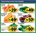 Lidl - Carrots 1kg 29p/ Spinach 250g 49p/ Butternut Squash 49p/ Plums 500g 50p/ Leeks 750g 69p/ Courgettes 90p