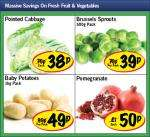 Pomegranate 50p, Fresh Brussels Sprouts - 500g Pack 39p, Pointed Cabbage 38p, Baby Potatoes 1 kg 49p @Lidl