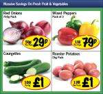 Red Onions 750 grams pack 29p,Mixed Pepper pack of 3 79p,Courgettes 1kg £1 and Rooster Potatoes 2kg pack £1
