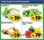 Lidl - Cauliflower 39p/ Brussels Sprouts 500g 39p/ Baking Potatoes 59p/kg/ Mixed peppers 3pack 79p
