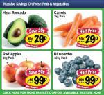 Hass Avocado 29p, Blueberries 125 gram 99p,Carrots 1kg 29p,  Red Apples 1kg 99p @ LIDL