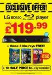 LG BD550 with Kick Ass, Robin hood and Toy Story 3 Double play £119.99 @ blockbuster
