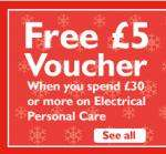 Free £5 voucher when you spend £30 on Electrical Personal Care @ Argos