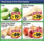 Lime 15p each,British Parsnips 500gm 29p,King Edward Potatoes 2.5 kg 89p,Red Apples 1kg 99p @Lidl