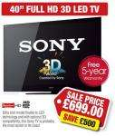 "Sony KDL40NX713U - 40"" LED 3D TV £699.99 @ PRC Direct instore"