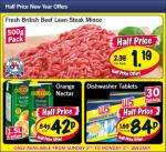 Lidl Half Price New Year offers 2nd - 3rd January - Orange Nectar 1.5L 42p/ W5 dishwasher 30 tablets 84p