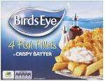 Birds Eye Fish Fillets in Batter/Breadcrumbs (4 per pack - 400g) Was £4 Now £1.75 @Iceland