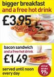 Yates 's Bigger Breakfast, bacon, beans, sausage, egg, mushrooms, chips + FREE hot drink