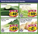Lidl - Cucumber 49p/ Cauliflower 69p/ Leeks 750g 89p/ King Edward potatoes 2.5kg £1