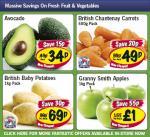 Lidl - Avacado 34p/ Chantenay carrots 500g 49p/ Baby Potatoes 1kg 69p/ Granny Smith Apples 1kg £1