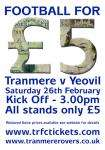 Tranmere Rovers v Yeovil Town For Only £5 !!!!