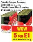 5 tins of tomatoes £1 @ Netto this weekend