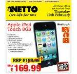 IPOD TOUCH - 4TH GEN - 8GB - NETTO - £169.99