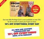 10% Discount Card For Over 55's @ Focus DIY