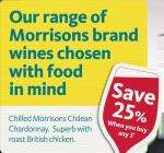 Save 25% when you buy 3 bottles of Morrisons Wine