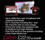 Virgin Media Partner Deal £22.99pm for Internet, Tv, Telephone