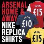 Arsenal Home & Away Kits from (Nike Replica Kits) £10 INSTORE! The link is for online (p&p cost applies)