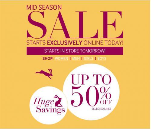 Joules mid season sale - upto 50% off