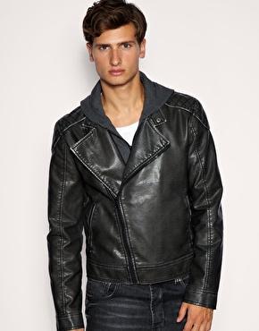 ASOS Leather Look Hooded Biker Jacket £22.00 - ASOS