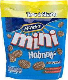 McVitie's Mini Chocolate HobNobs Bag (125g), McVitie's Mini Chocolate Digestives Bag (125g), McVitie's Jaffa Cakes Mini Bag (115g), McVitie's Milk Chocolate Digestives or Hobnobs (250g) Resealable Tubs all £1 at Sainsburys
