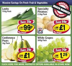 Lidl - Conference pears 1kg £1/ White Grapes 500g £1.29/ Leeks 750g 99p/ Speciality potatoes 2.5kg £1