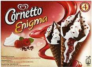 Wall's Cornetto Enigma Raspberry & Dark Chocolate/ Vanilla & Chocolate just a quid for box of 4 @ Asda!!
