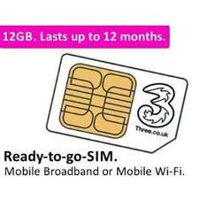 3 Original Broadband Ready To Go 12GB Preloaded Data Sim - £33.99 Delivered @ Amazon Sold By TT Sims