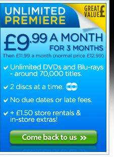 Blockbuster Rental For £3.99 or £9.99 per month