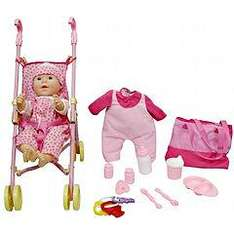 """Sainsbury's New Born Baby Deluxe Set with Stroller £11.99 (Contains-16"""" doll, a stroller, key rattle, extra outfit, bag, pacifier, training cup, milk bottle, dish, spoon, fork and bottles)"""