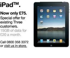 Existing Customers - iPad Cost £75 - £20 Per Month @ 3 Mobile