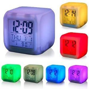 TRIXES 7 LED Color Change Digital Alarm Thermometer Clock - £4.95 @ Amazon