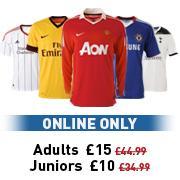 Football Shirts £10 - Kids, £15 Adults + Free Shirt Printing @ JJB Sports