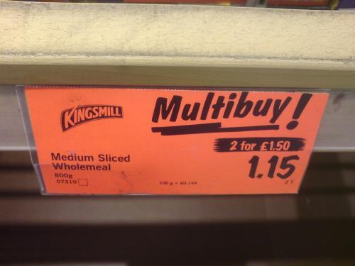 Kingsmill bread 2 for £1.50 instore @ lidl