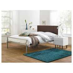Tiverton King Bed, Brown Faux Leather Headboard And Sprung Slats £49.75 at Tesco
