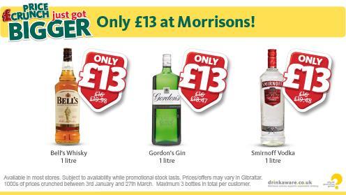 Bell's Whisky 1L/ Gordon's Gin 1L/ Smirnoff Vodka 1L £13each @ Morrisons