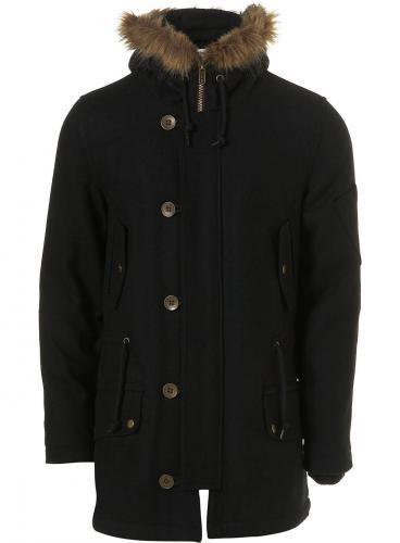 Topman Wool Black Parka  NOW £20 (was £90)