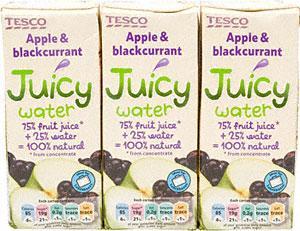 Tesco Juicy Water Apple & Blackcurrant (3 x 250ml) & Tesco Juicy Water Apple (3 x 250ml) 49p