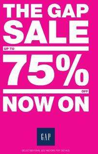 GAP Sale Now On Upto 75% off