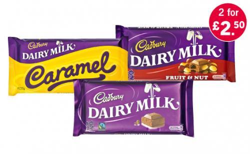 Cadburys Dairy Milk, Caramel or Fruit & Nut 230g bars 2 for £2.50 @ Lidl