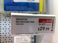 Kingston Class 4 SD Card 16GB - £29.99 *Instore* @ Currys