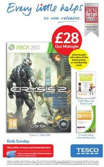 Crysis 2 For Xbox 360 - £28 *From Midnight Instore* *When bought with 2100 MS Points (£17.50) or 3 Months Xbox Live (£14.99) * @ Tesco